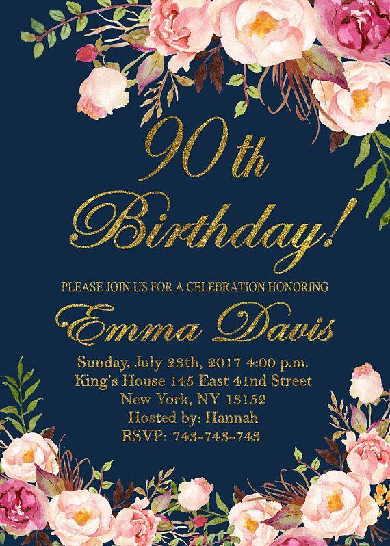 90th birthday invitation women birthday invitation floral navy women