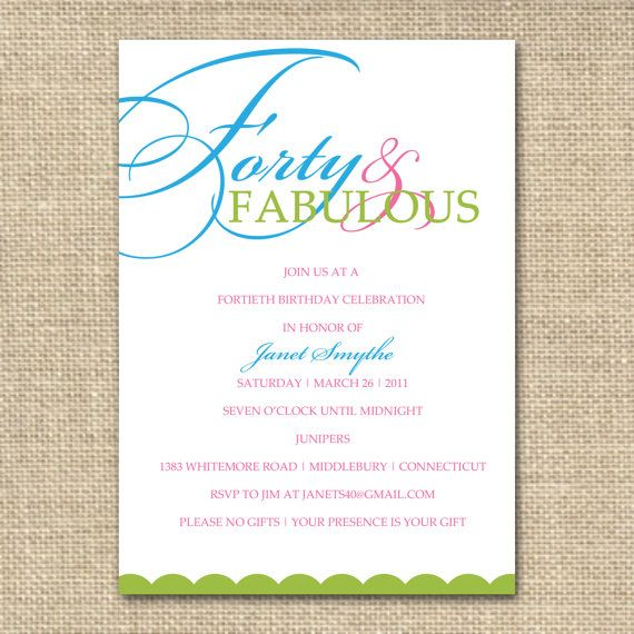 great yet simple and elegant | party ideas | pinterest | 40th, Birthday invitations