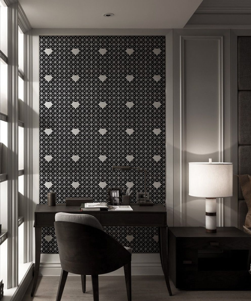 Build A Cool Living Room In Black Hue This Diamond Pattern Large Wall Design Has Highlighted The Whole Space Mosaic Flooring Porcelain Mosaic Wall Tiles