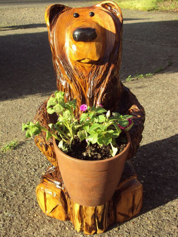 Chainsaw carved flower pot bear by gavinh on etsy etsy