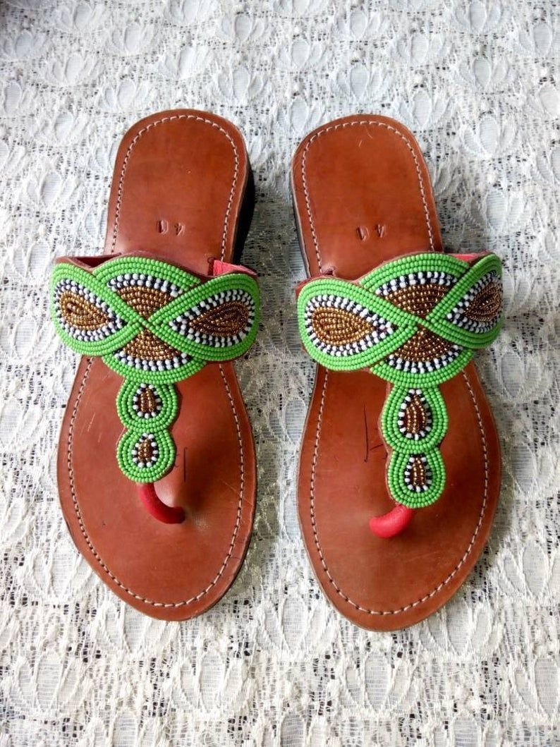 Beaded Masai sandals Christmas gift Leathe ON SALE African Beaded Sandals Beach Sandal Beaded summer Sandals Gift for her Summer wear
