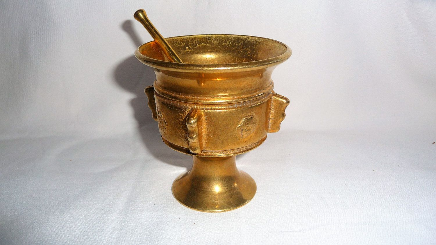 Vintage Solid Brass Mortar And Pestle Bronze Apothecary Home Decor Footed Herb Spice