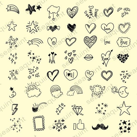 Hand drawn Heart Doodle Clipart  Scribbles Doodle Clipart | Etsy