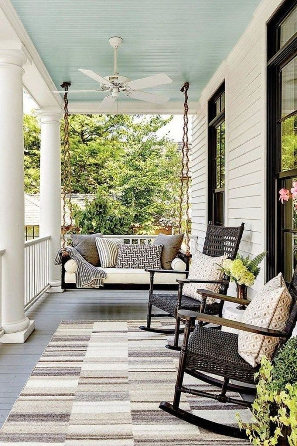 71 Stunning Farmhouse Porch Decor Ideas In 2020 With Images Porch Furniture Front Porch Furniture Farmhouse Front Porches
