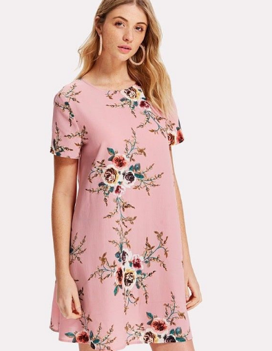 81a22ddbb6d Pink Floral Printed Casual Shift Dress