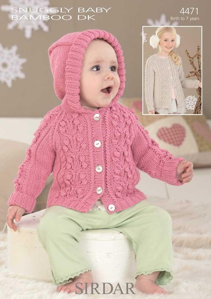 Childrens Cardigans Knitted In Sirdar Snuggly Baby Bamboo Dk Bebek