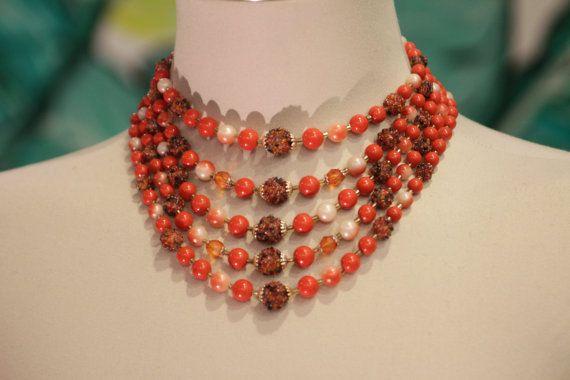 Oh Jackie O Huge 5 Strand Orange Necklace by vintageCANDACE