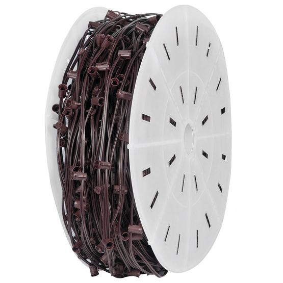 """House - 500' C7 Commercial Light Spool, SPT1 Brown Wire, 12"""" Spacing"""