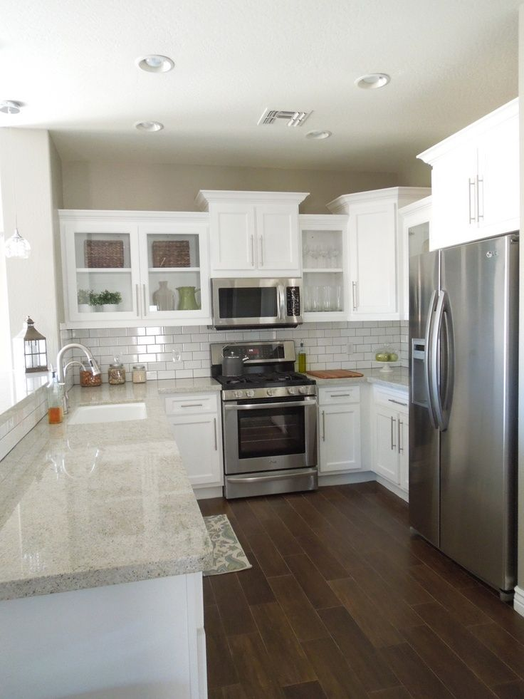 Light Granite Countertops Dark Hardwood Floors White Cabinets