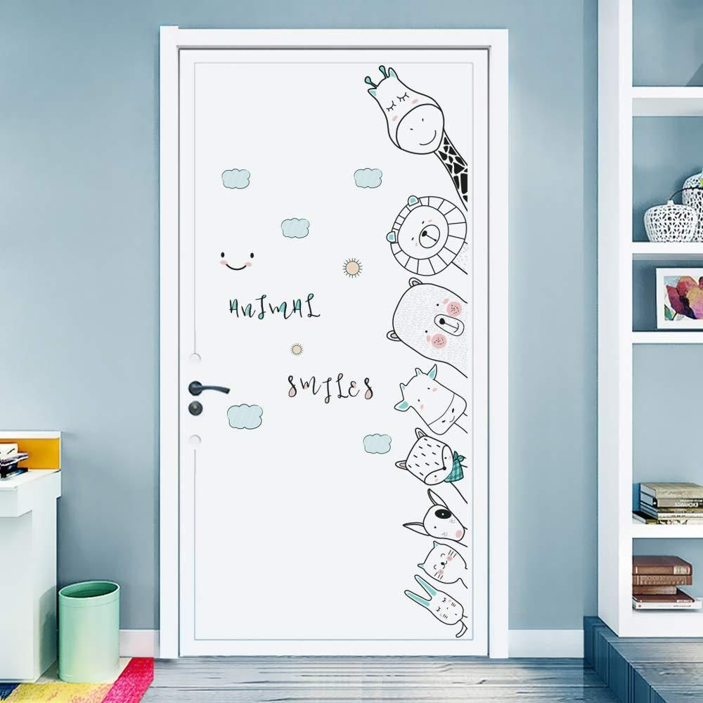 Wall Stickers Decals For Kids Room Bedroom Baby Room Wall Decor Sticker Cute Animal Door Sticker Baby Room Wall Decor Kids Room Wall Decor Baby Room Wall