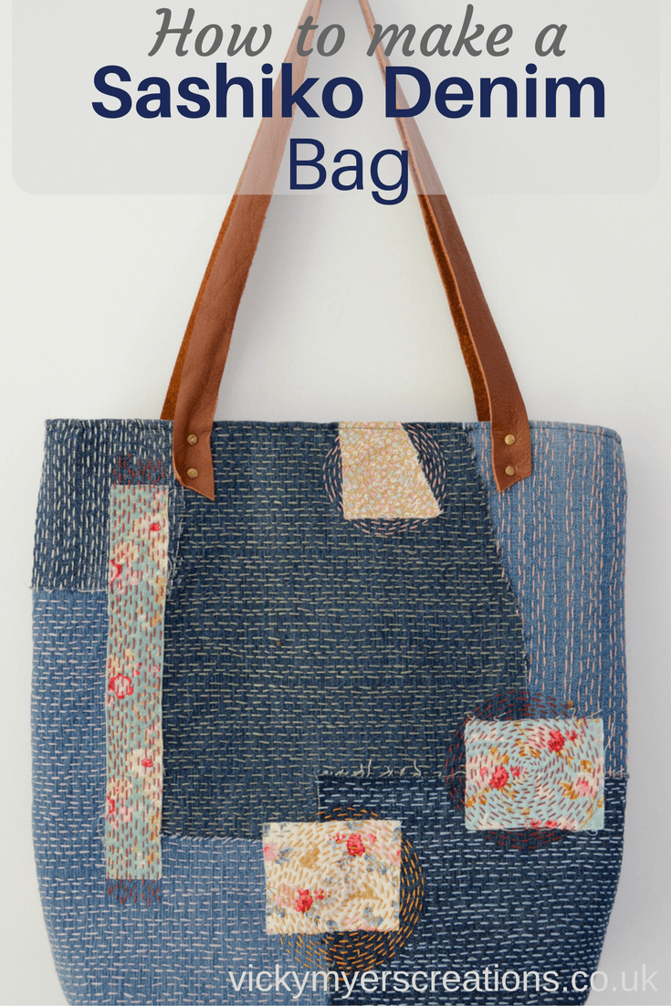 Make A Sashiko Denim Bag Use Up Ss Of To Unique One Off Upcycled Step By Tutorial For Embroidered