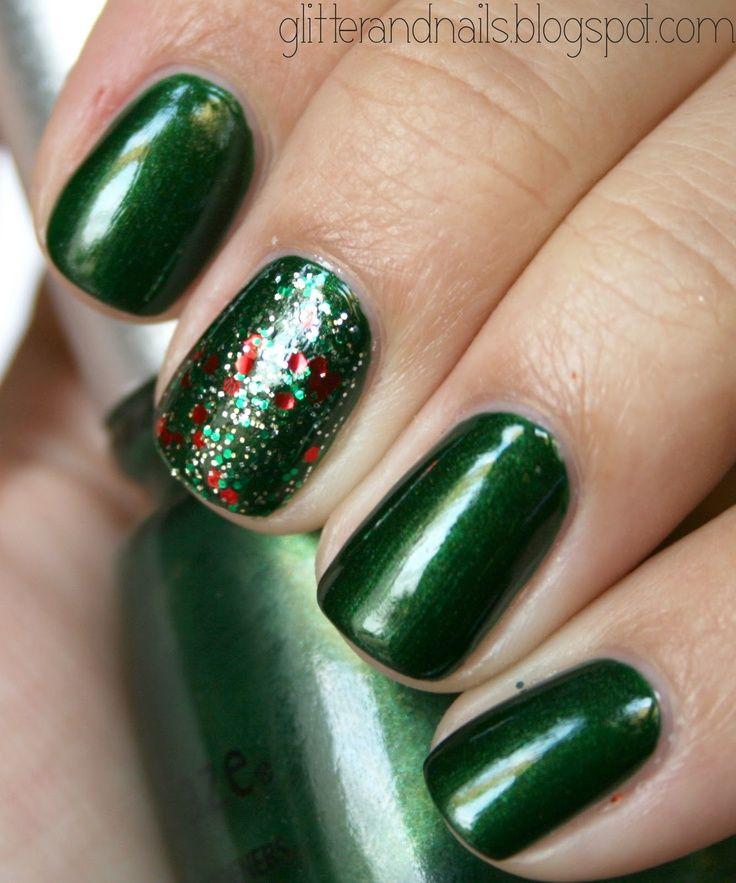 Christmas Nails with Glitter Accent | | navidad,navidad 2013 ...