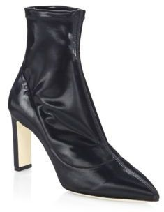 Jimmy Choo Louella 85 Leather Point Toe Booties