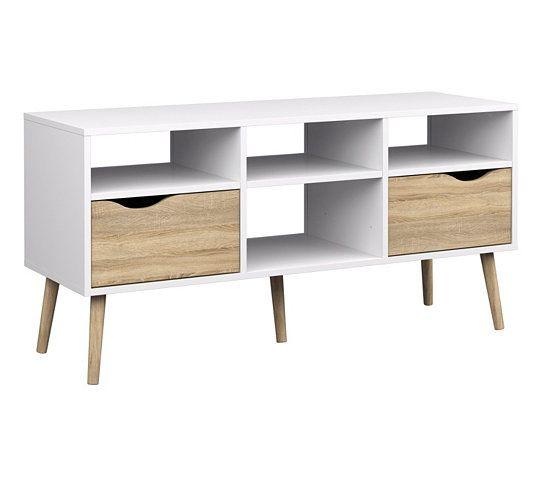 Meuble Tv Oslo Blanc Chene Mobilier De Salon Meuble Tv Table A Manger Pas Cher