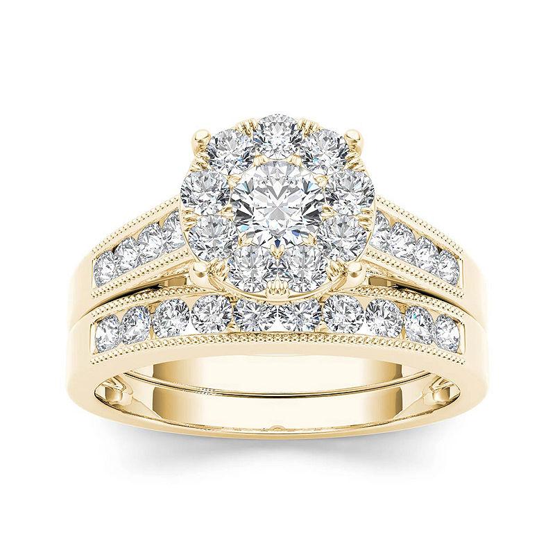 1 Ct T W Diamond 10k Yellow Gold Bridal Ring Set Bridal Ring Sets Yellow Gold Yellow Gold Wedding Ring Sets Vintage Wedding Rings Rose Gold