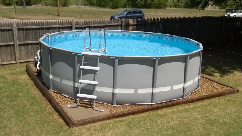 Landscaping around base of intex ultra frame pools page for Above ground pool base ideas