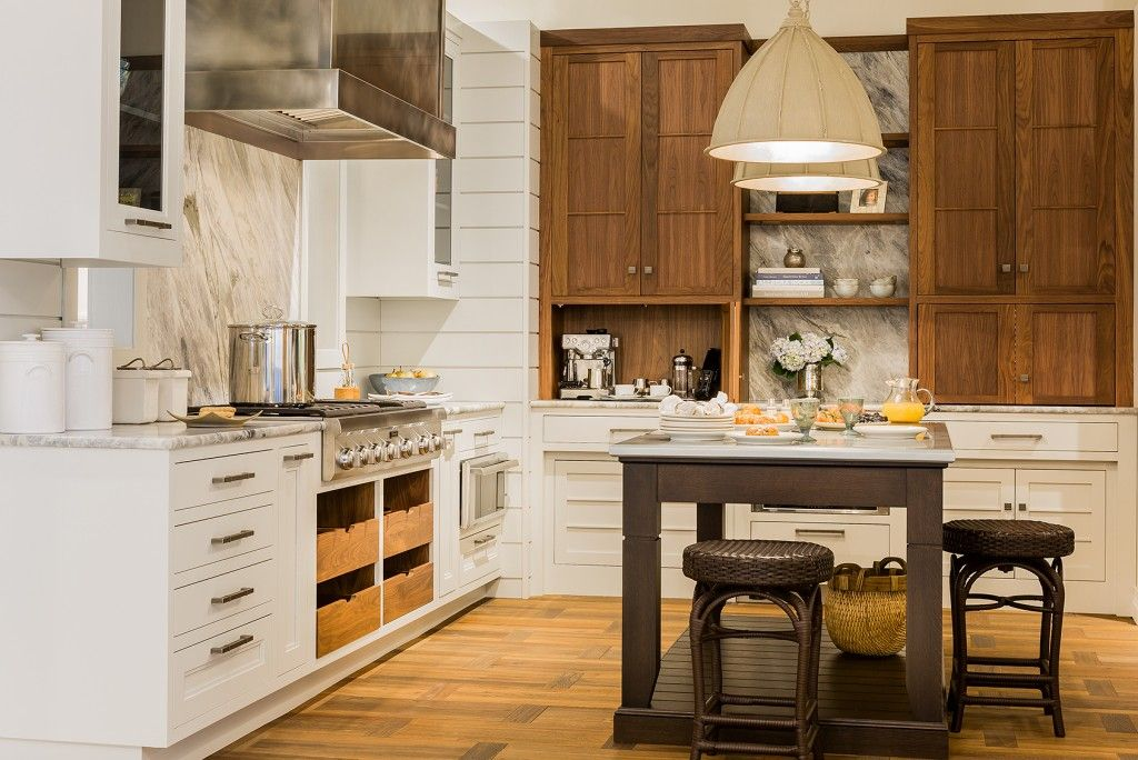 White kitchen drawers mixed with wood upper cabinets ...