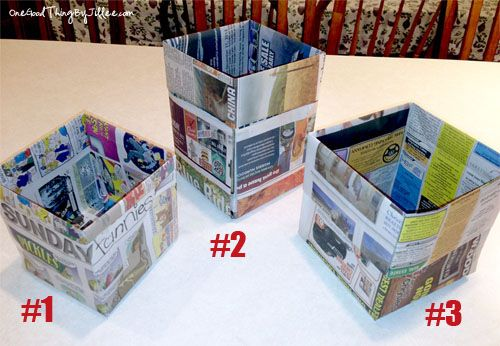 How To Make An Origami Trash Can Out Of Newspaper!