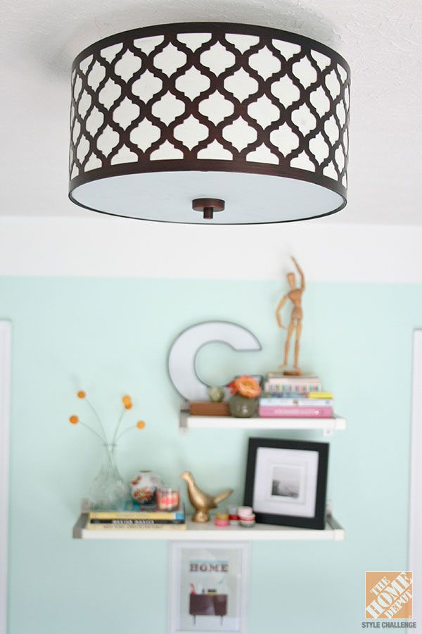 Hampton Bay Edgemoor Ceiling Light Fixture Mounted In Bright Newly Decorated Bedroom