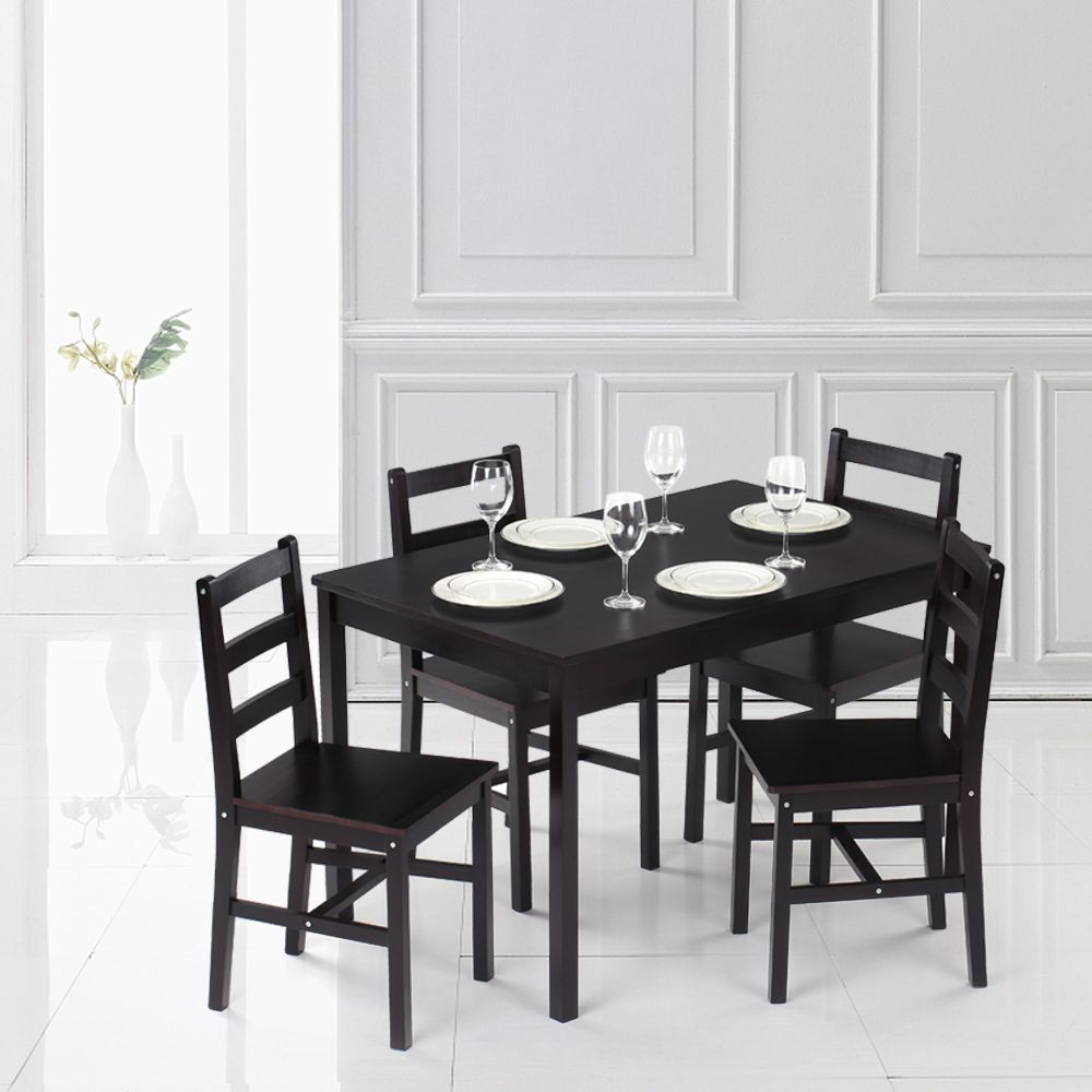 Brown1 Ikayaa Modern 5pcs Pine Wood Kitchen Dining Table And 4