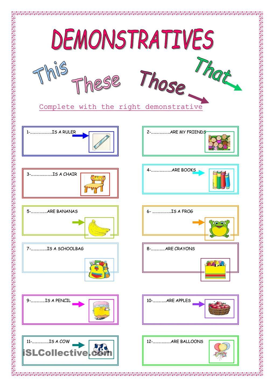 Uncategorized Spanish Demonstrative Adjectives Worksheet demonstratives esl divers pinterest english pages worksheets