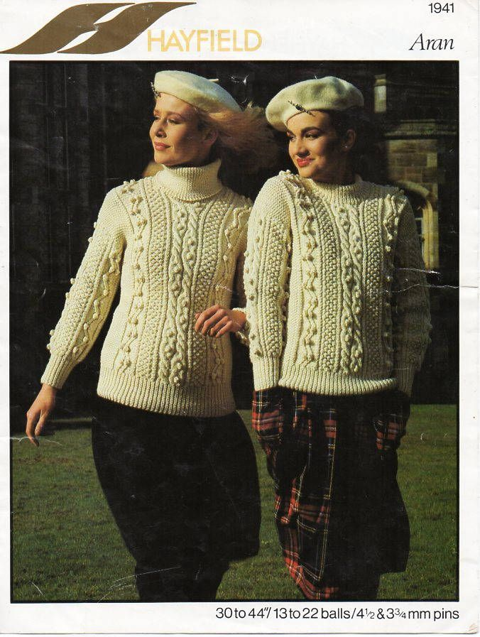 Womens Aran Sweater Knitting Pattern Pdf Ladies Cable Jumper Polo Or