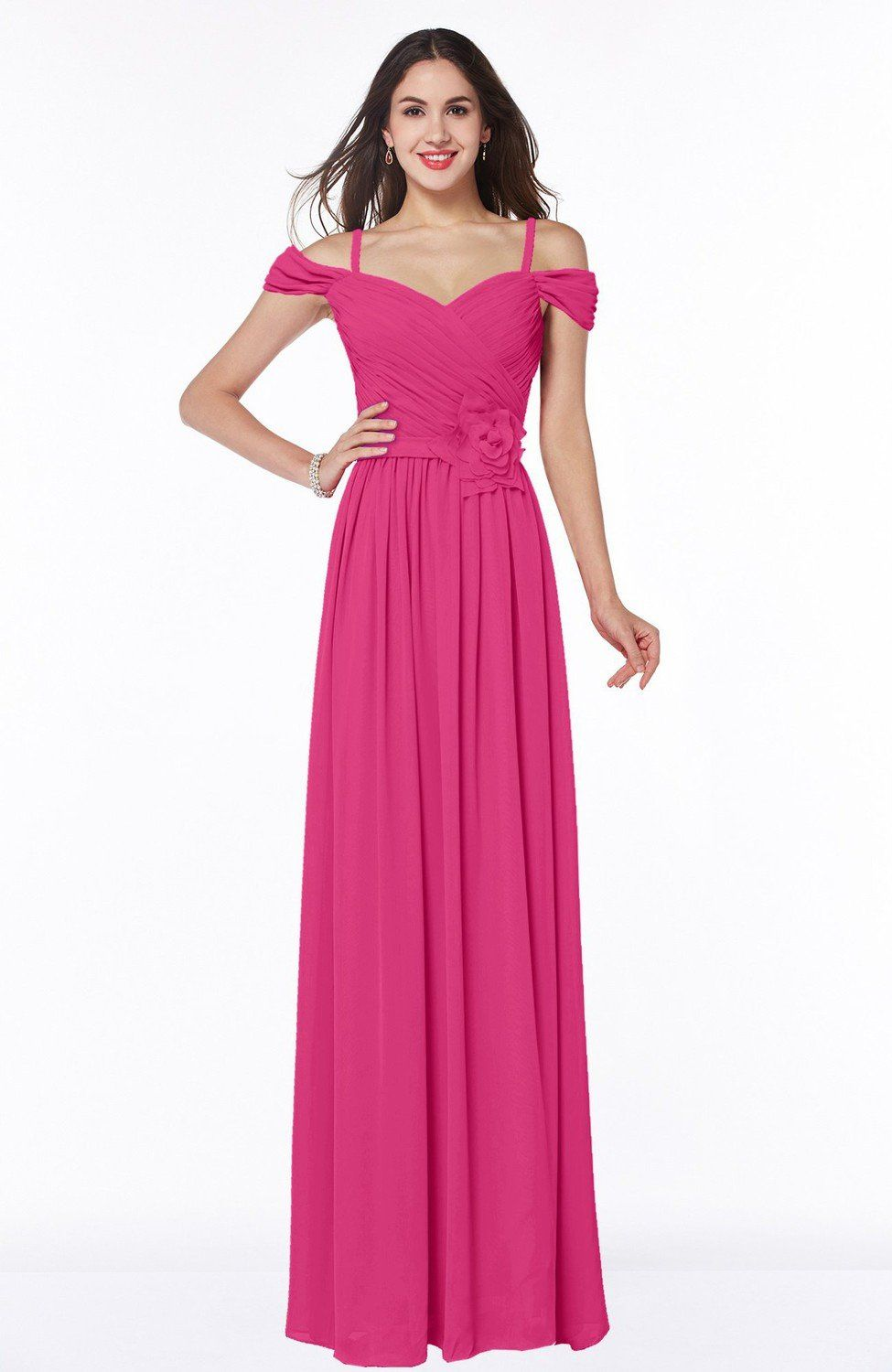 Fuschia Bridesmaid Dress - Gorgeous A-line Off-the-Shoulder Short ...