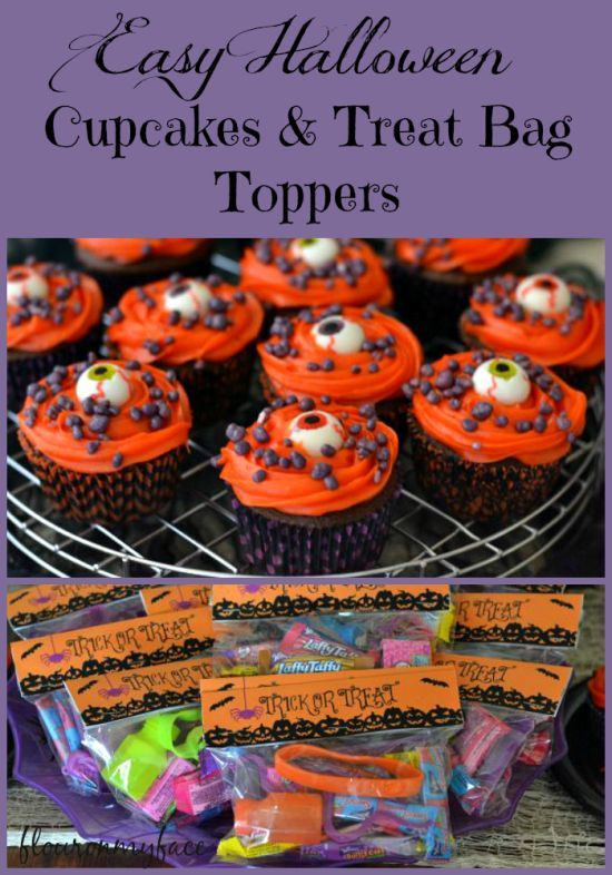 Free Halloween Treat Bag Topper Printable and Cupcakes #ad #Treats4All