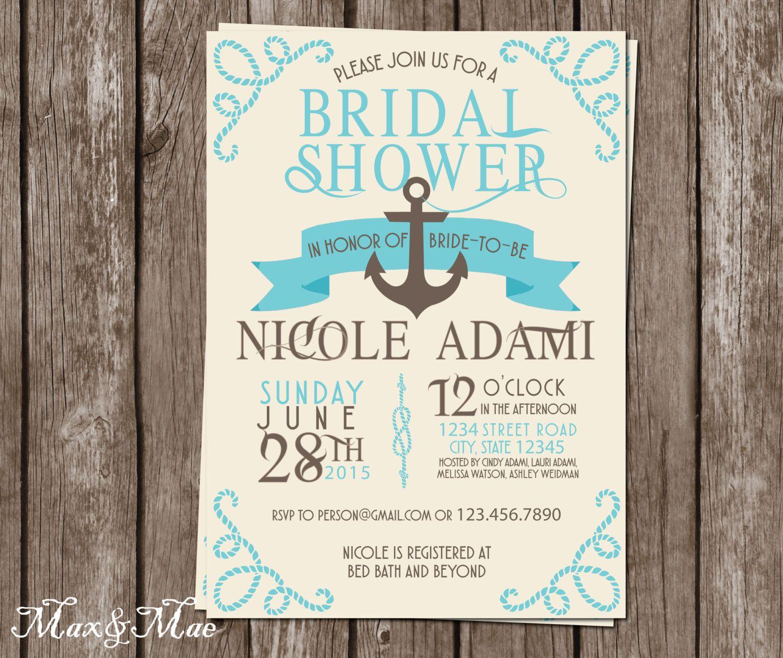 tie the knot wedding invitations etsy%0A Nautical Bridal Shower Invitation  Cruise Themed Invitation  Anchor Invite   Wedding Shower  Digital