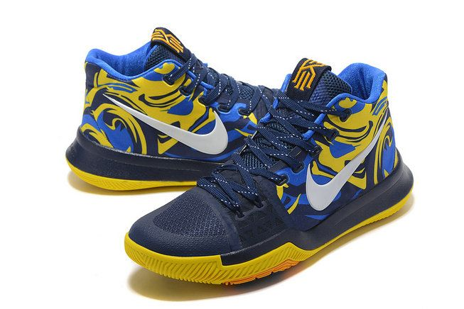 New Arrival Cheap KYRIE 3 III Third Blue Yellow PE VS Wizards graphic Black  Blue Yellow