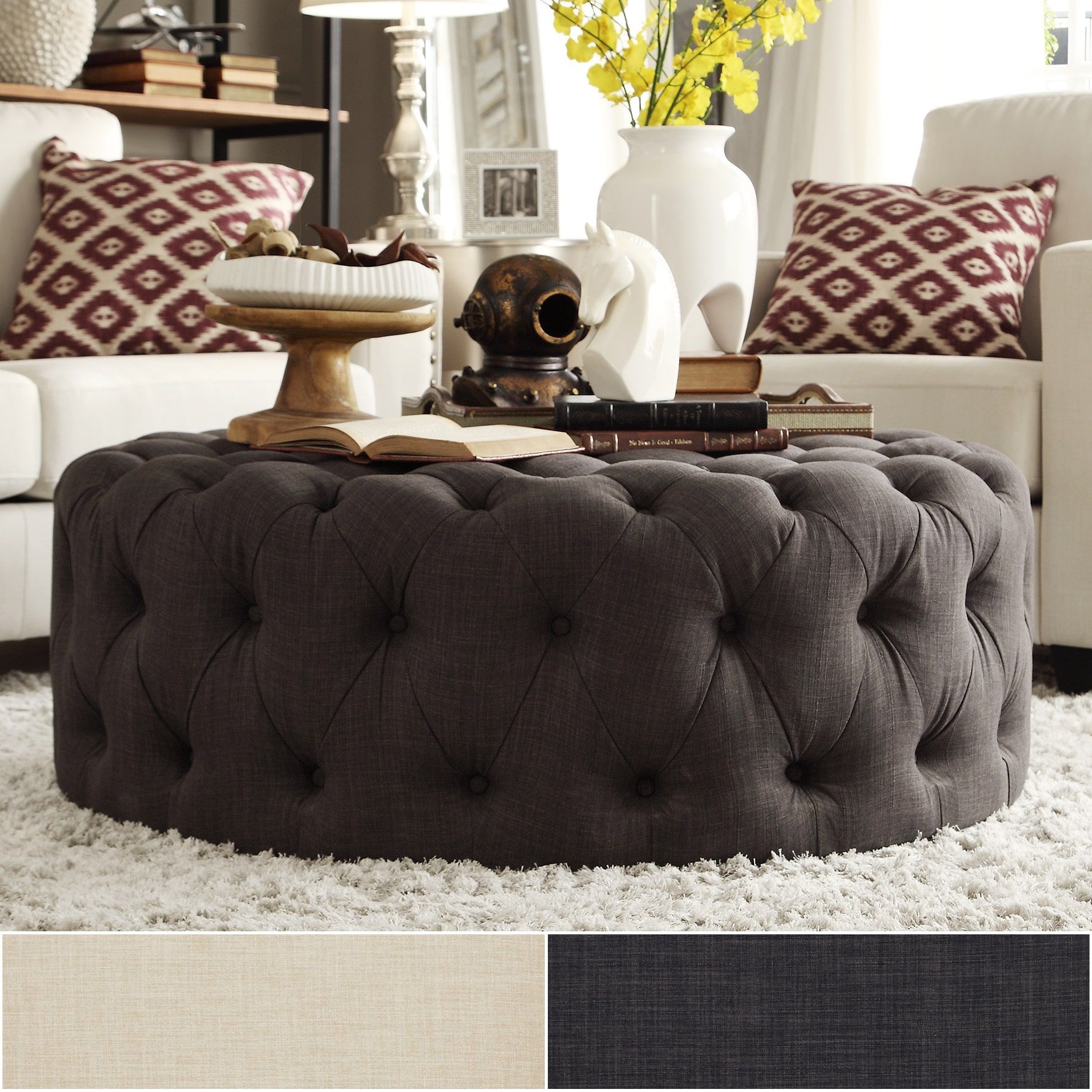 Knightsbridge Round Linen Tufted Cocktail Ottoman with Casters by iNSPIRE Q  Artisan by iNSPIRE Q