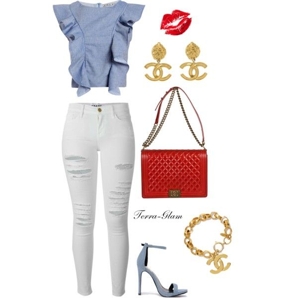 A fashion look from July 2015 featuring Viva Aviva tops, Frame jeans and Fahrenheit pumps. Browse and shop related looks.
