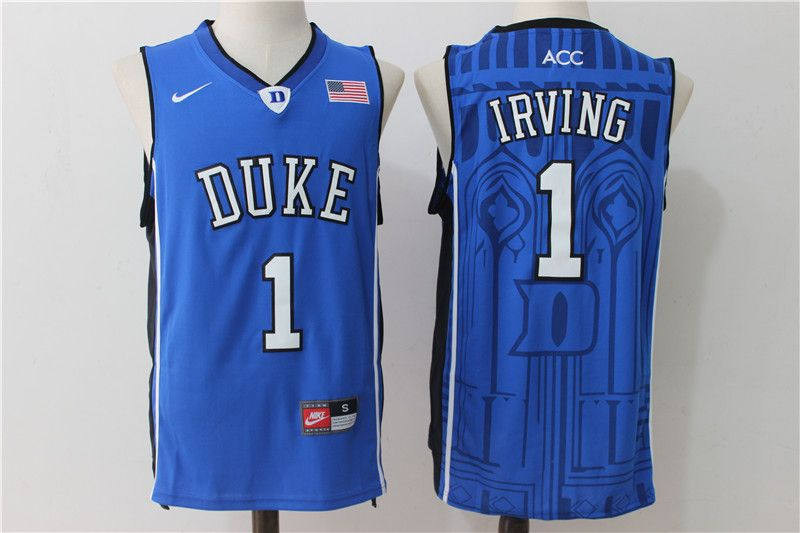 98f285c6f61 Duke Blue Devils 1 Kyrie Irving Blue College Basketball Jersey ...