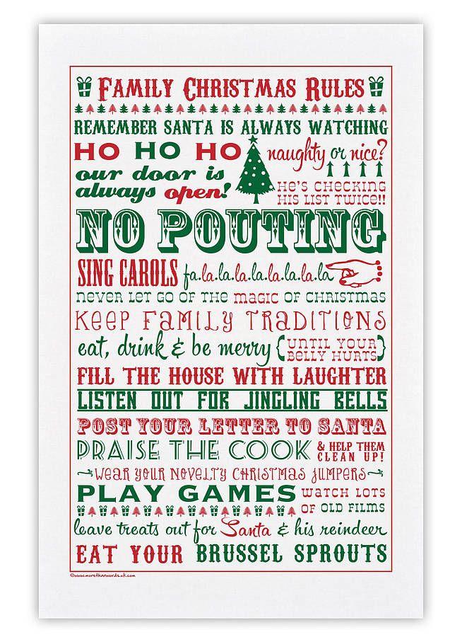 Family Christmas Rules Tea Towel | Z-Christmas BD ideaz ...