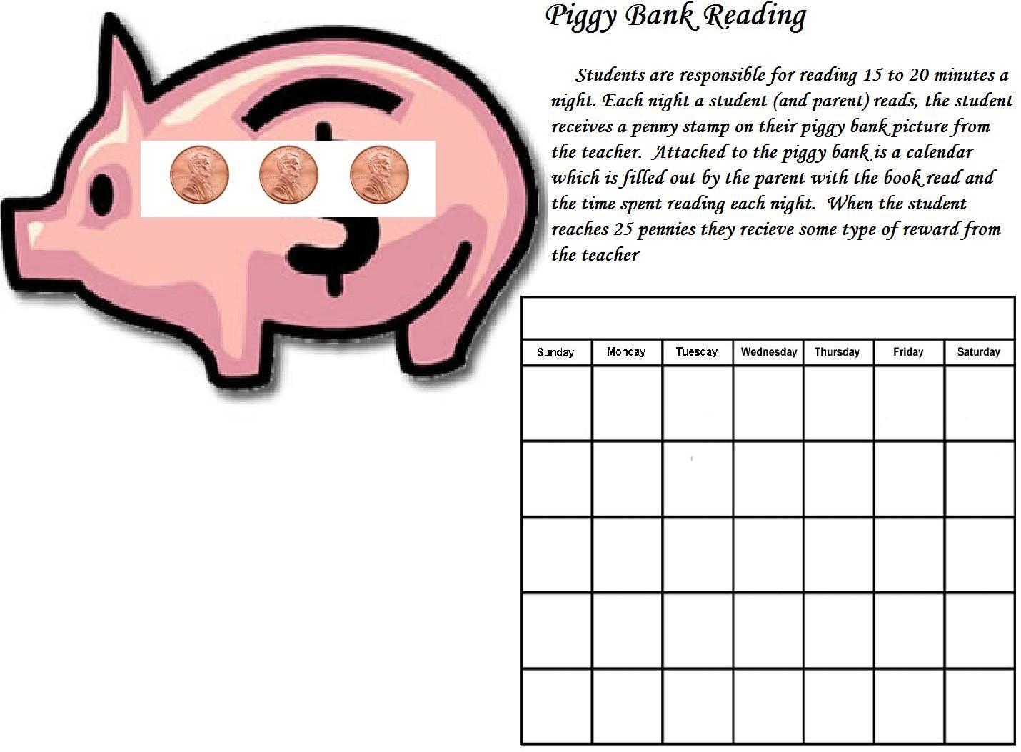 Piggy Bank Reading Chart