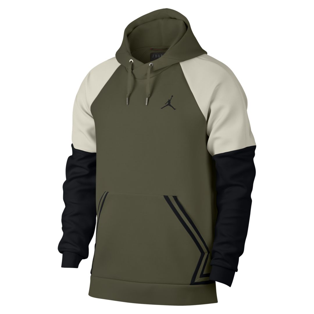 60e008a73c0ec7 Jordan Sportswear Flight Tech Diamond Men s Pullover Hoodie Size L (Olive  Canvas)