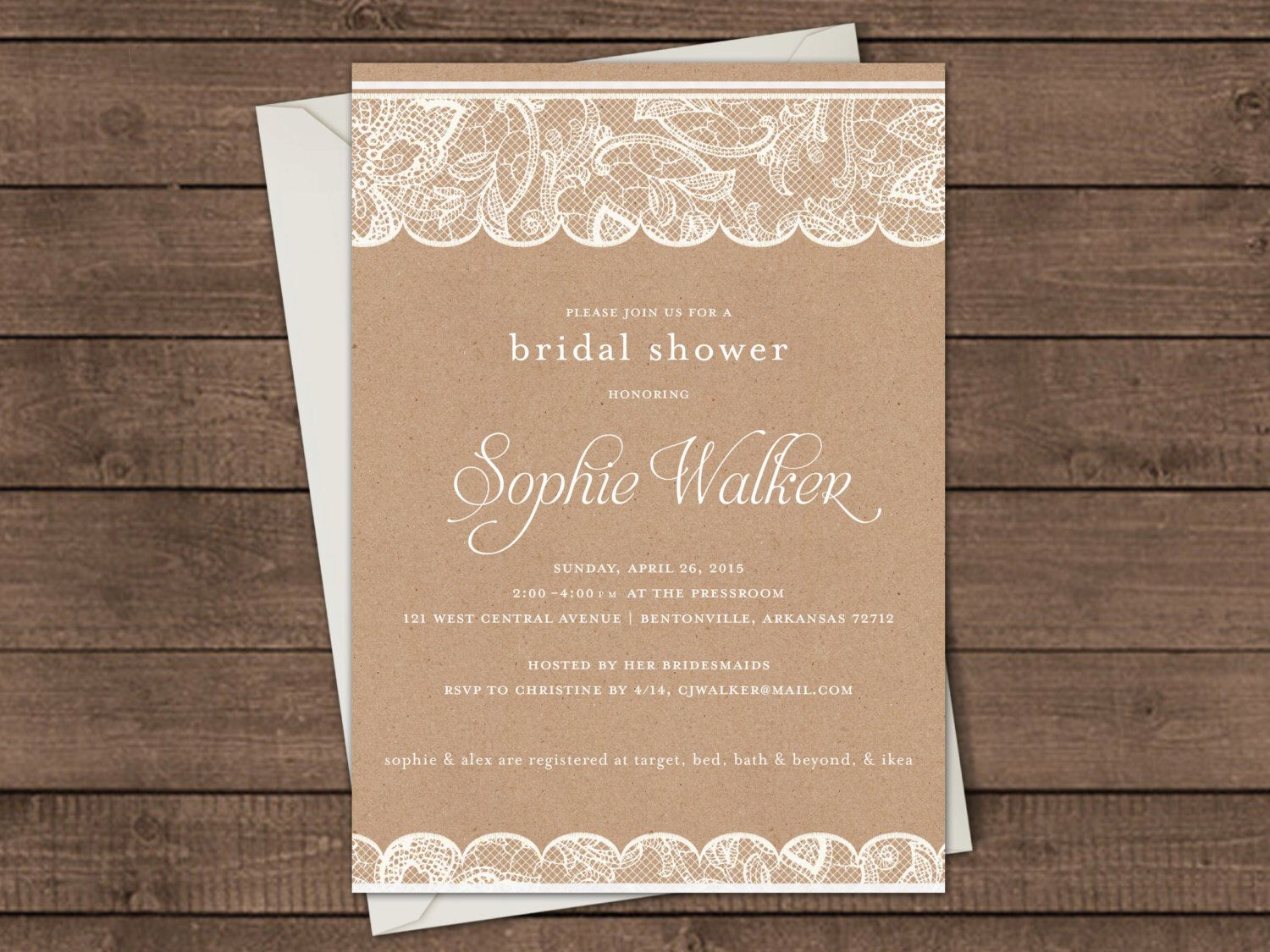 Custom Craft Paper and Lace Bridal Shower Invitation | Natural, Rustic Wedding Invite- DIGITAL FILE ONLY by InkInTheOzarks on Etsy https://www.etsy.com/listing/226200053/custom-craft-paper-and-lace-bridal