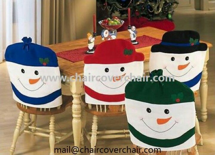 4 Colors Christmas Chair Back Cover Snowman Hat Decoration Dinner Table Kitchen Xmas Party Holiday