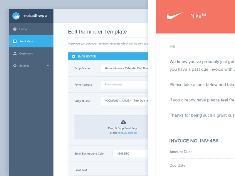 invoice sherpa email template editor | ui ux and ui design, Invoice templates