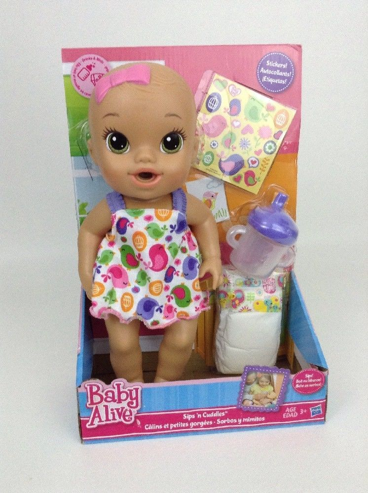 In Box Hasbro Baby Alive Sips N Cuddles Brunette Drink Wet Doll Bottle Diaper Hasbro Dollswithclothingaccessories Baby Alive Cuddling Dolls