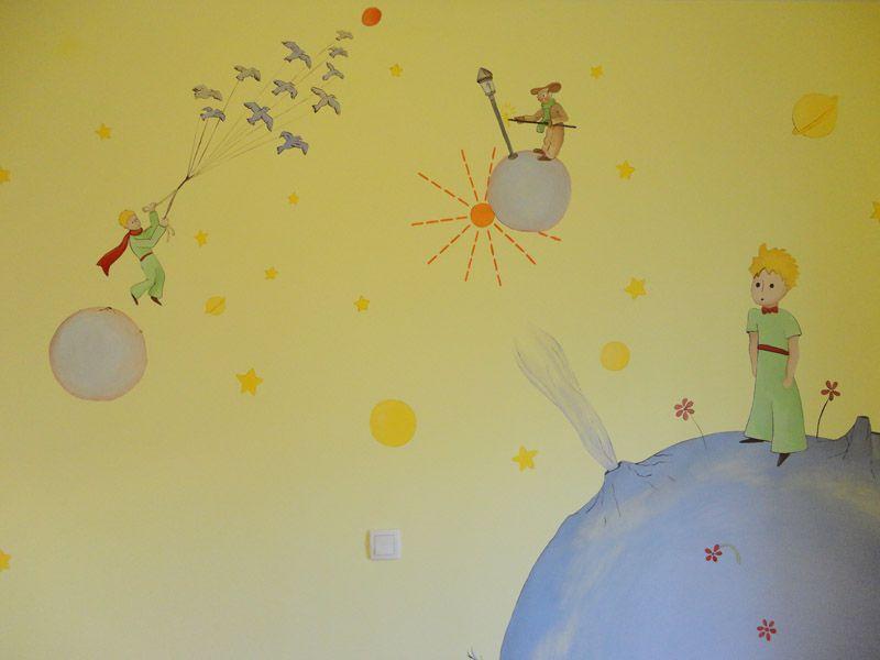 Mural planetas del principito principito pinterest - Murales infantiles pintados a mano ...