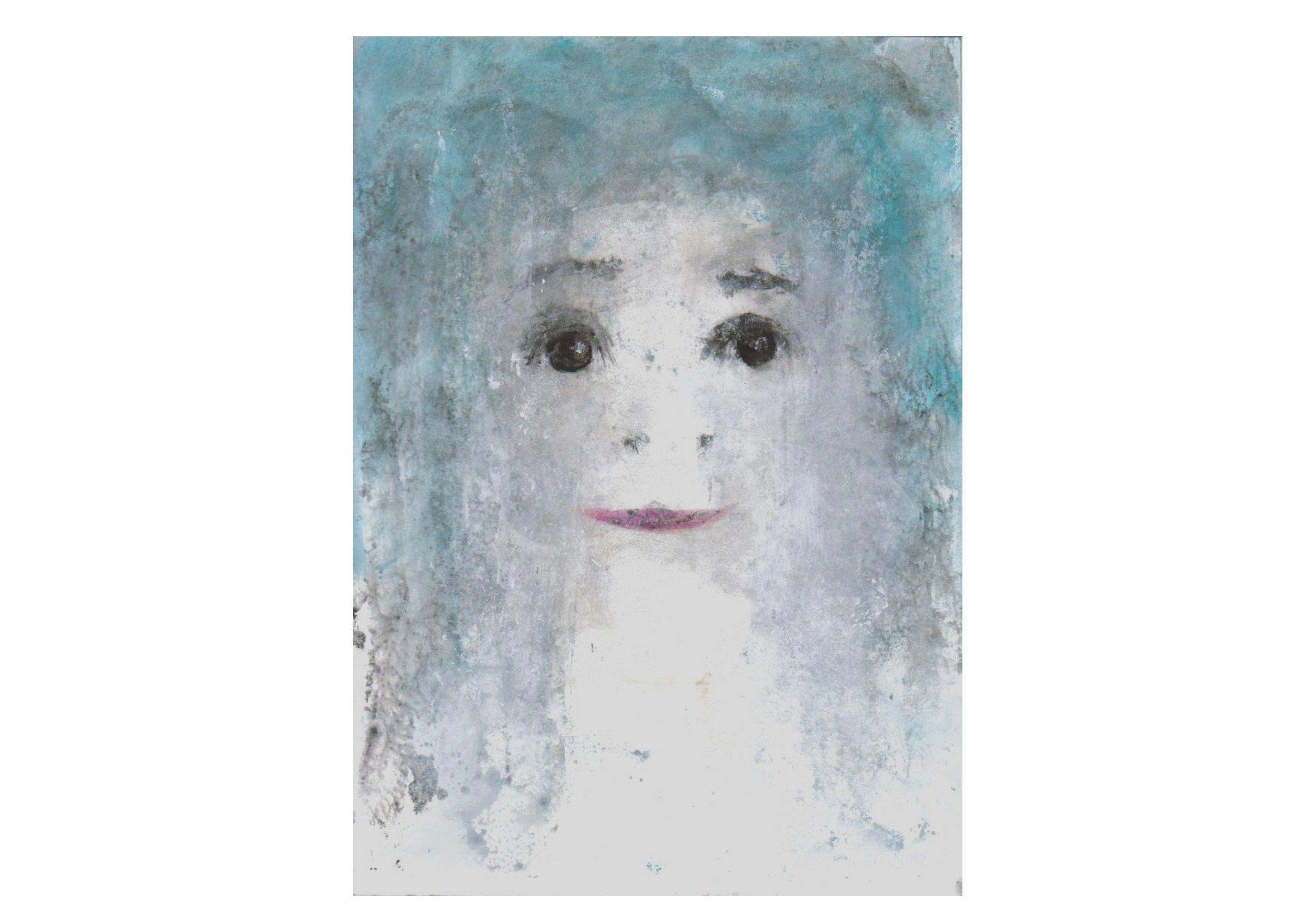 Portrait peinture femme fille bleu blanc gris visage moderne