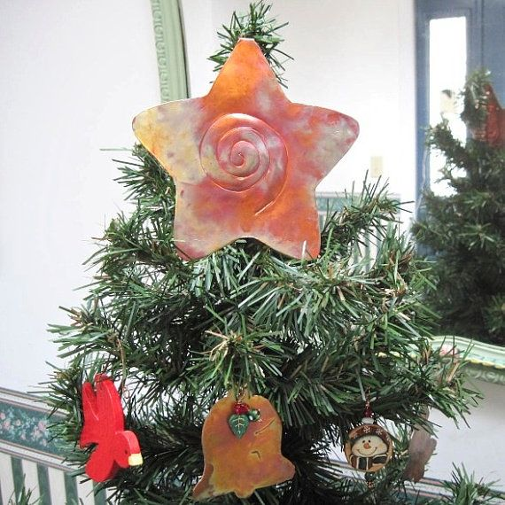 Tree Topper Copper Christmas Star Rustic Metalwork Holiday