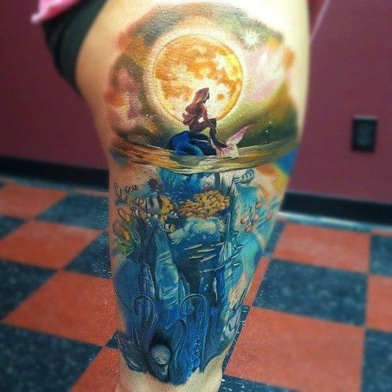 Mermaid in Ocean Tattoo.. would like this with pretty colorful tropical fish at the bottom