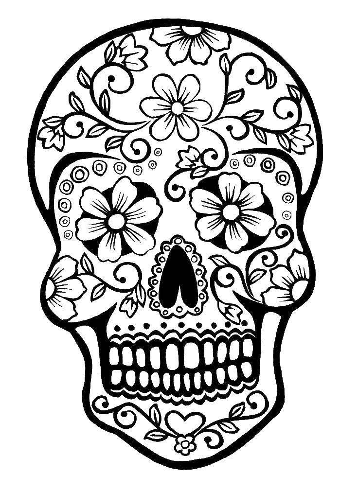 Раскраска Череп в цветочок ,череп, день мертвых, ,череп, | узоры ...