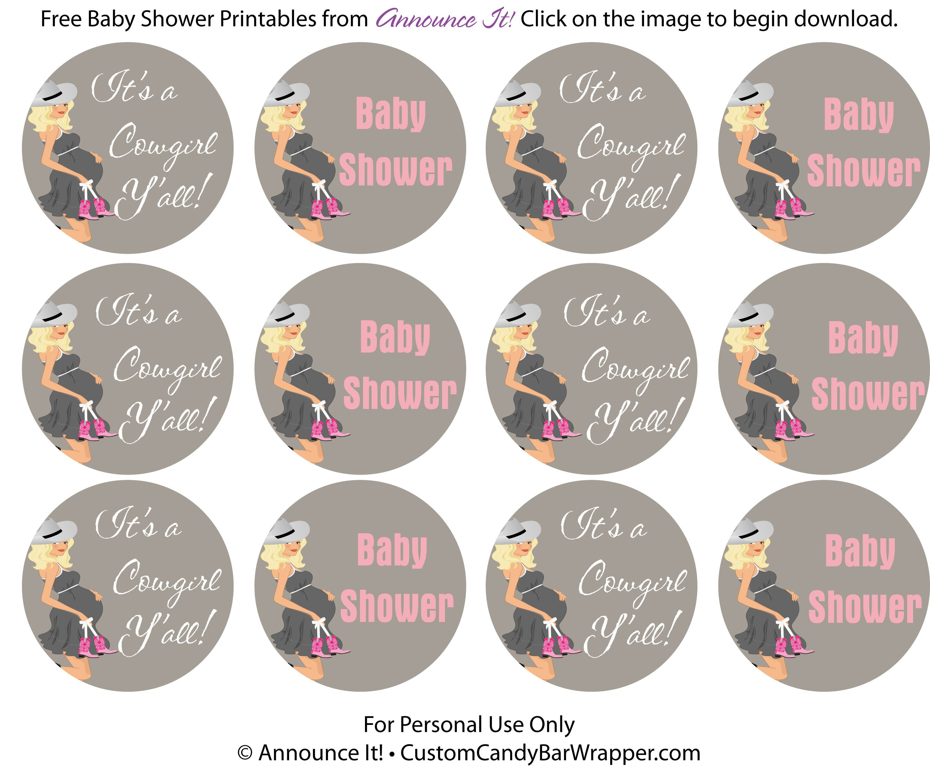 free cowgirl baby shower printable may be used for cupcake toppers