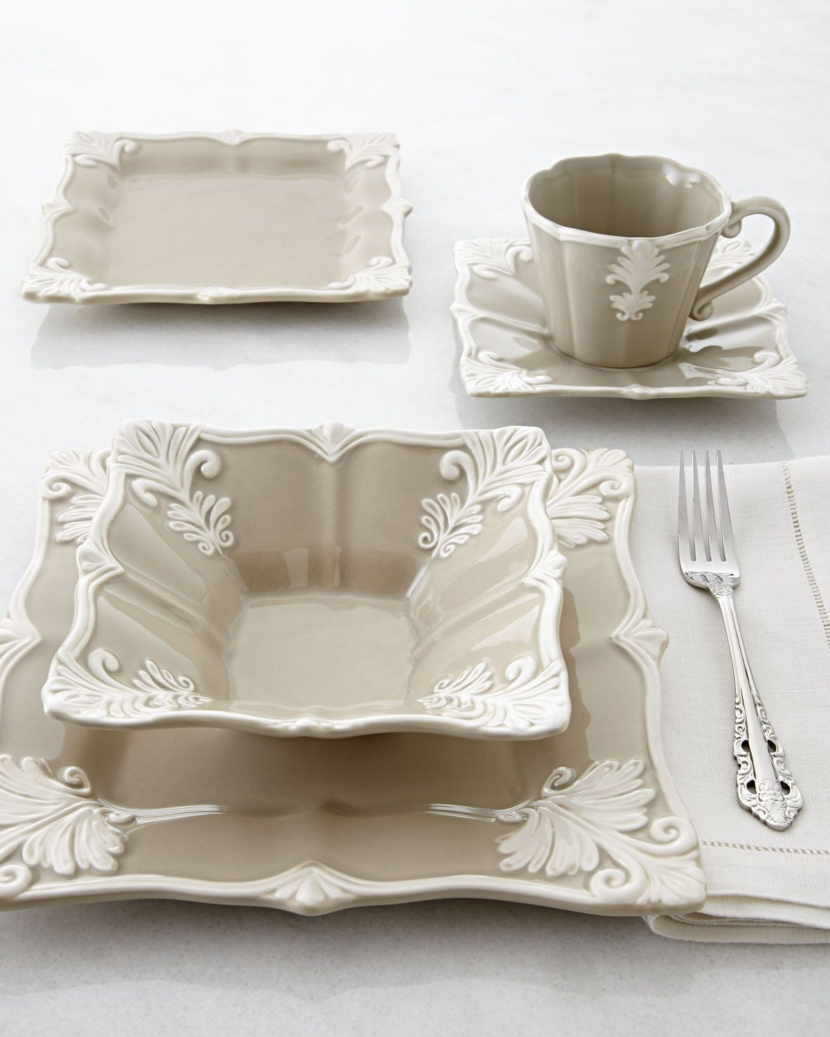 China Kitchen Austin: 12-Piece Taupe Square Baroque Dinnerware Service