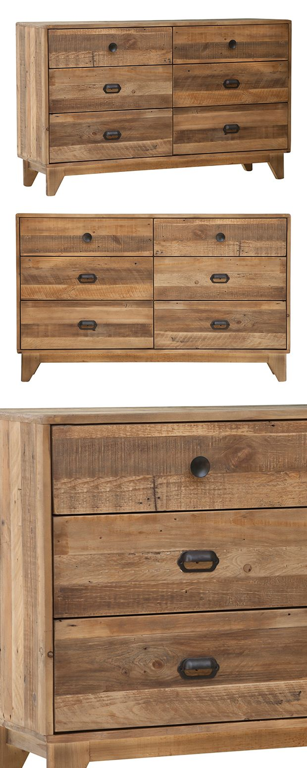 Give your favorite clothes a perfect place to call home with this handsome Shaw Dresser. Beautifully made from heavily grained, recycled pine wood, this modern gem offers a rustic spin on its charming,... Find the Shaw Dresser, as seen in the A Luxury Camping Retreat Collection at http://dotandbo.com/collections/a-luxury-camping-retreat?utm_source=pinterest&utm_medium=organic&db_sku=128776