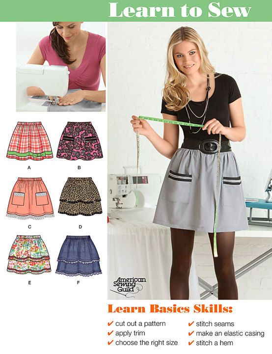 Misses SKIRT Sewing Pattern - EASY Learn to Sew Skirts - 7 Sizes ...