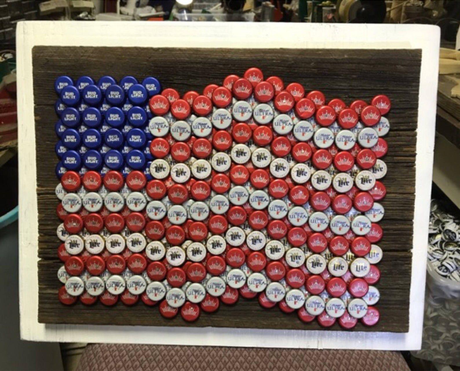 Bottle Cap Art American Flag Etsy Diy Bottle Cap Crafts Bottle Cap Art Bottle Cap Crafts